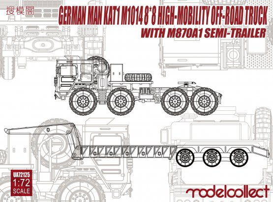 Modelcollect MAN KAT1 M1014 with M870A1 semi-trailer 1:72