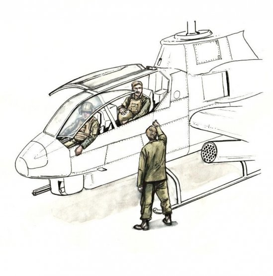 AH-1 Sitting pilots and ground crew 1:72