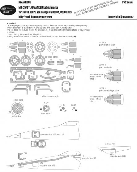 MiG-25RBT ADVANCED mask for Revell 1:72