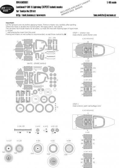 P-38 F/G Lightning EXPERT mask for Tamiya 1:48