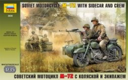 Zvezda Soviet Motorcycle M-72 w/ Sidecar and Crew 1:35