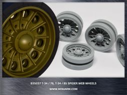 Miniarm T-34,Su-85 Spider web wheels with per. tires (late) 1:35