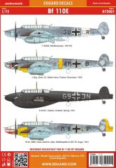 Eduard Messerschmitt Bf 110E Decals 1:72