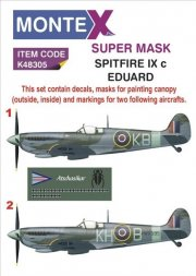 Montex Spitfire Mk.IXc mask + decals for Eduard 1:48