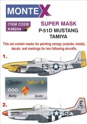 Montex P-51D Mustang mask + decals for Tamiya 1:48