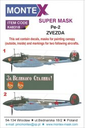 Pe-2 Super Mask + decals for Zvezda P.2 1:48