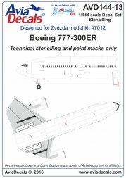 Boeing 777-300ER. Technical Stenciling 1:144