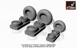 Su-27 Flanker wheels early w/ weighted tires 1:32
