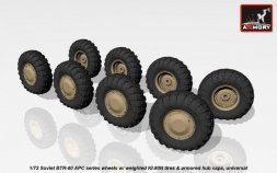 Armory BTR-80 wheels w/ weighted tires KI-80N (armored hub) 1:72