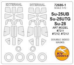 Su-25UB, Su-28 (double sided & wheels) mask 1:72