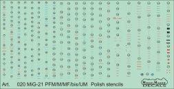 MiG-21PFM/M/MF/bis/UM Polish stencils 1:32