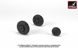 Armory MiG-21 Fishbed mid type wheels w/ weighted tires 1:72