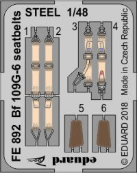 Edaurd Bf 109G-6 seatbelts STEEL 1:48