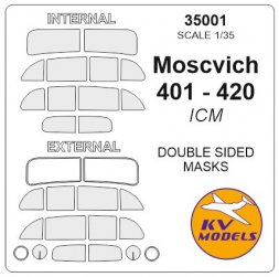 Moskvich 401-420 mask (double sided) for ICM 1:35