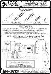 Master Fw 190 A7 - A9 armament set & Pitot Tube 1:72