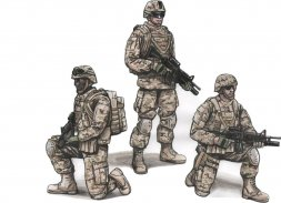 US Army Soldiers and Commanding Officer 1:72