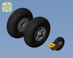 Spitfire wheels set 5 spoke, smooth tire - No Mask 1:32