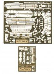 U-boat type VIIC detailing sets (etched) 1:350