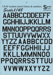 Print Scale USAF modern stencil letters and numbers. Black 1:48